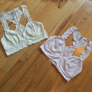Two Free People Galloon Lace Racerback Bralettes